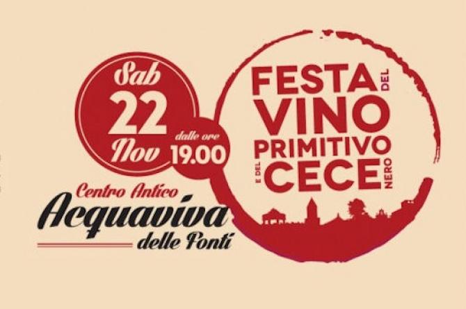 Festa del vino primitivo e del cece nero: il 22 novembre ad Acquaviva delle Fonti