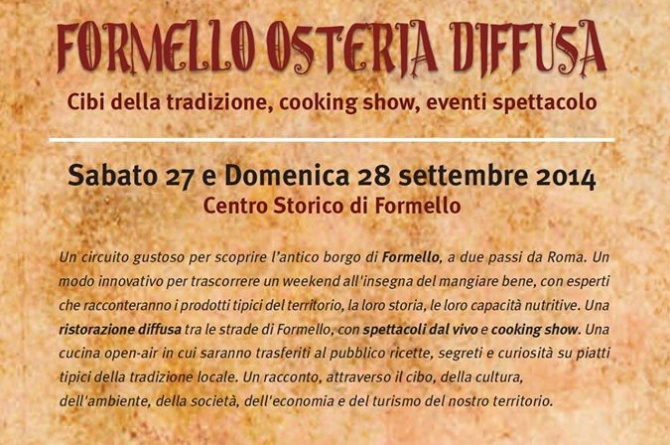 Il 27 e 28 settembre a Formello torna Formello Osteria Diffusa