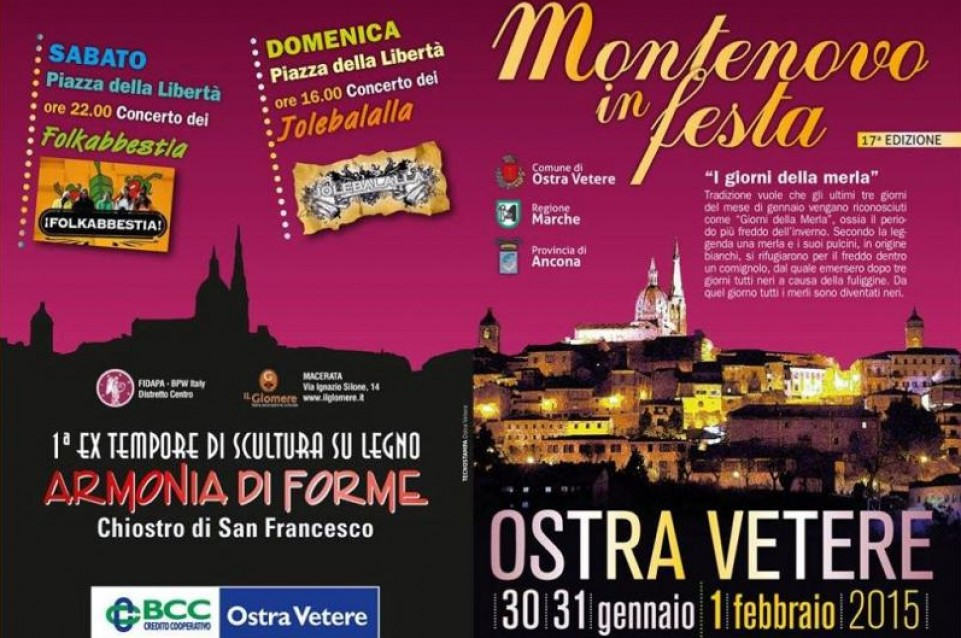 """Dal 31 gennaio all'1 febbraio a Ostra Vetere l'inverno si scalda con """"Montenovo in Festa"""""""