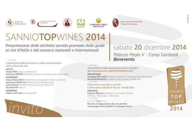 SannioTopWines: il 21 dicembre in scena a Palazzo Paolo V a Benevento