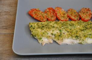Filetto di scorfano con pomodorini al forno